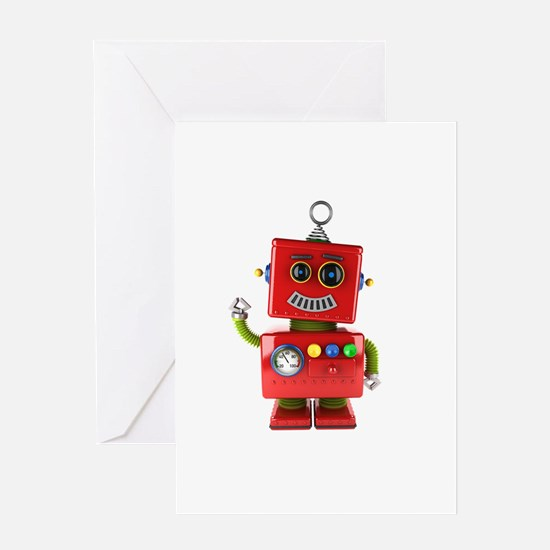Red toy robot waving hello Greeting Cards