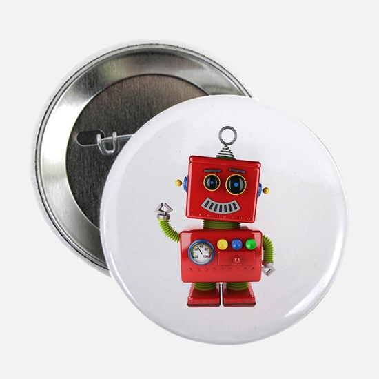 """Red toy robot waving hello 2.25"""" Button"""