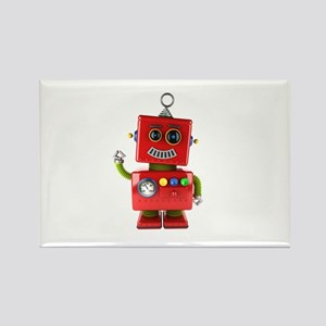 Red toy robot waving hello Magnets