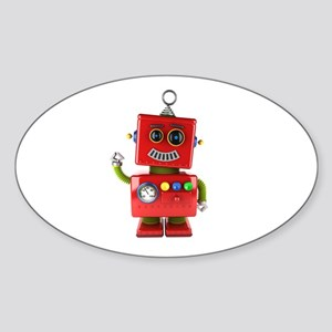 Red toy robot waving hello Sticker