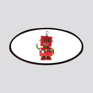 Red toy robot waving hello Patch
