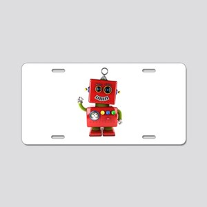 Red toy robot waving hello Aluminum License Plate