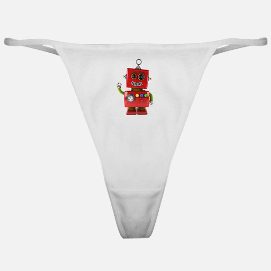 Red toy robot waving hello Classic Thong