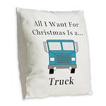 Christmas Truck Burlap Throw Pillow