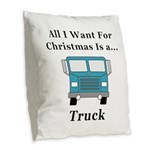 Christmas Truck Burlap Throw Pillow