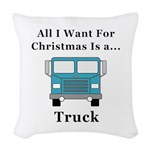 Christmas Truck Woven Throw Pillow