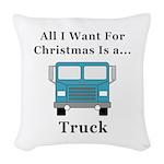 Christmas Truck Woven Throw Pillow