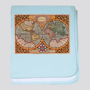Vintage Map of The World (1596) baby blanket