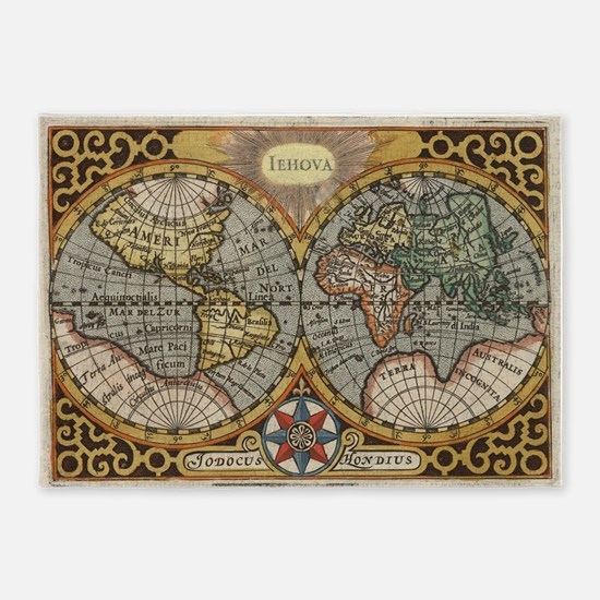 Vintage Map of The World (1596) 5'x7'Area Rug