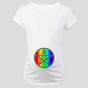 Maternity T-Shirt-Rainbow Pentacle Black