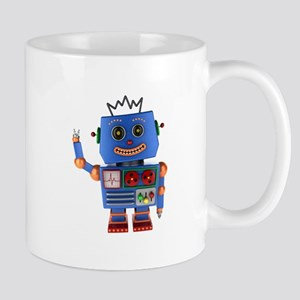 Blue toy robot waving hello Mugs