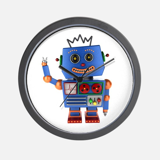Blue toy robot waving hello Wall Clock