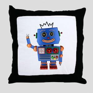 Blue toy robot waving hello Throw Pillow