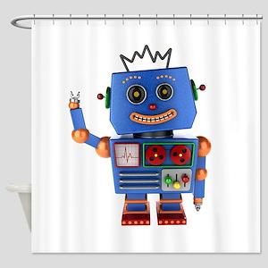 Blue toy robot waving hello Shower Curtain