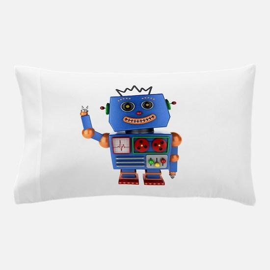 Blue toy robot waving hello Pillow Case
