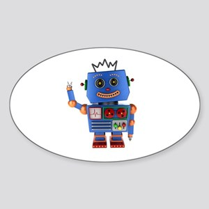 Blue toy robot waving hello Sticker