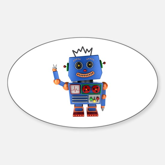 Blue toy robot waving hello Decal