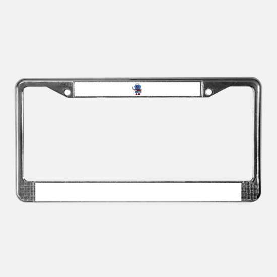 Blue toy robot waving hello License Plate Frame
