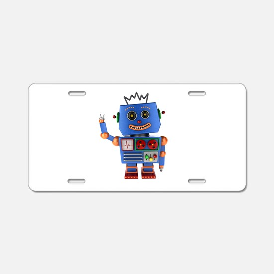 Blue toy robot waving hello Aluminum License Plate