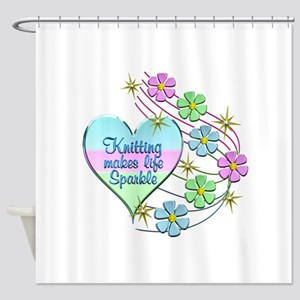 Knitting Sparkles Shower Curtain