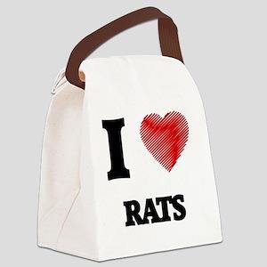 I Love Rats Canvas Lunch Bag