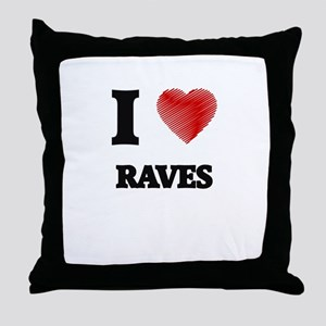 I Love Raves Throw Pillow