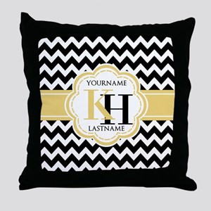Black and White Chevron with Yellow M Throw Pillow