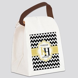 Black and White Chevron with Yell Canvas Lunch Bag