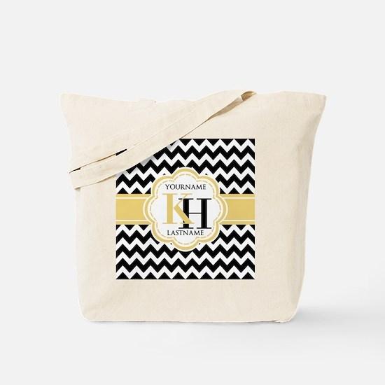 Black and White Chevron with Yellow Monog Tote Bag