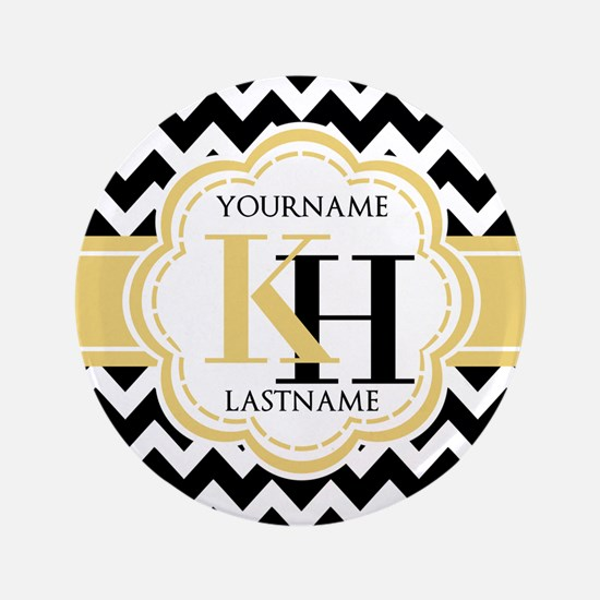"""Black and White Chevron wit 3.5"""" Button (100 pack)"""