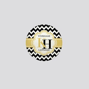 Black and White Chevron with Yellow Mo Mini Button