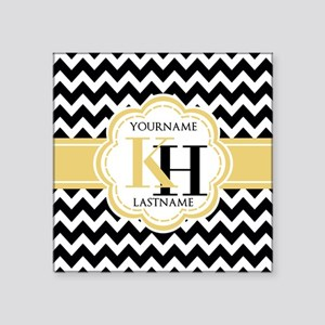 "Black and White Chevron wit Square Sticker 3"" x 3"""