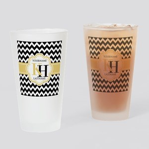 Black and White Chevron with Yellow Drinking Glass