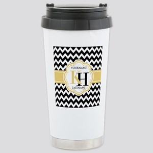 Black and White Chevron Stainless Steel Travel Mug