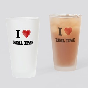 I Love Real Time Drinking Glass