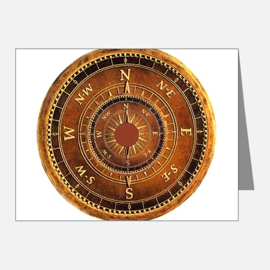 Compass Rose in Brow Note Cards