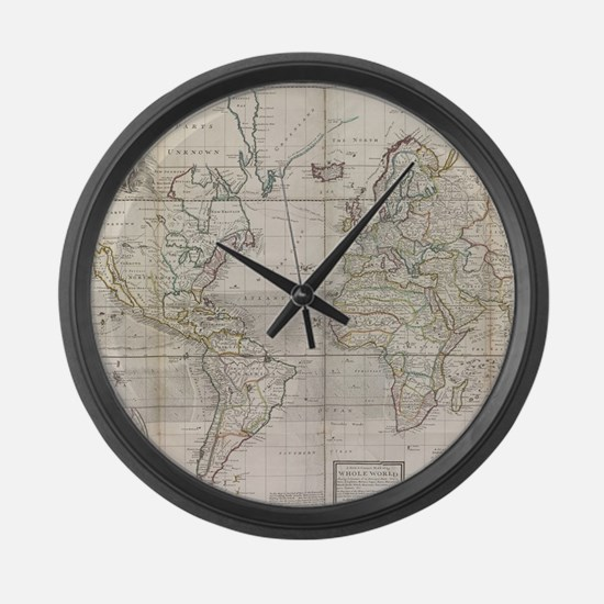 Vintage Map of The World (1719) Large Wall Clock