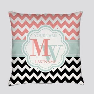 Black & Coral Chevron Monogram Everyday Pillow