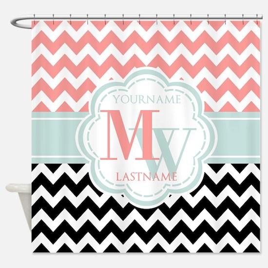 Black & Coral Chevron Monogram Shower Curtain