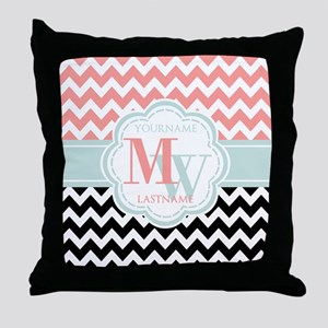 Black & Coral Chevron Monogram Throw Pillow