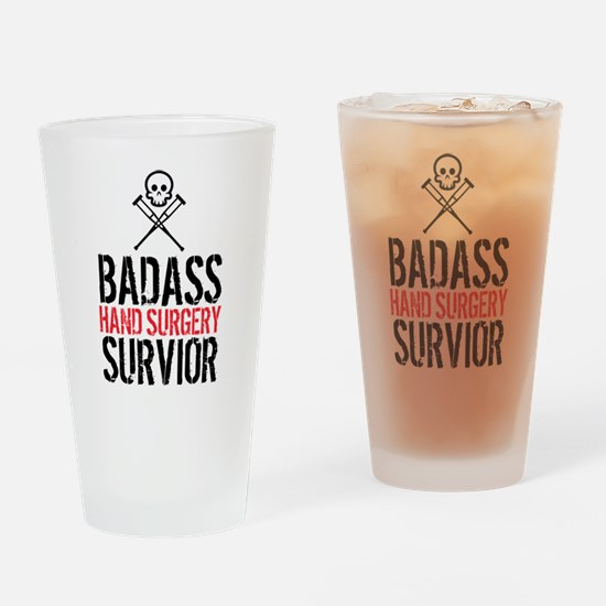 Badass Hand Surgery Survivor Drinking Glass