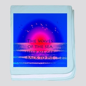 Waves of the Sea Quotation on Pink Ho baby blanket