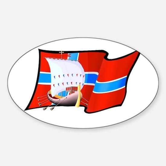 Norge Viking Ship Sticker (Oval)