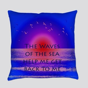 Waves of the Sea Quotation on Pink Everyday Pillow