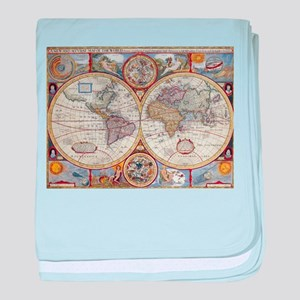 Vintage Map of The World (1626) baby blanket