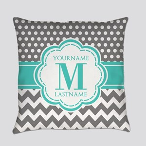 Personalized Polka Dots Chevron Gr Everyday Pillow