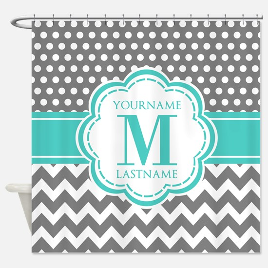 Personalized Polka Dots Chevron Gra Shower Curtain