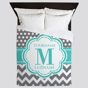 Personalized Polka Dots Chevron Gray Queen Duvet