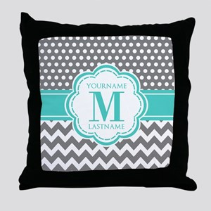 Personalized Polka Dots Chevron Gray Throw Pillow