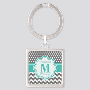 Personalized Polka Dots Chevron Gr Square Keychain